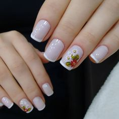Nails French Flower Simple Ideas For 2019 Beautiful Nail Art, Gorgeous Nails, Pretty Nails, White Nails, Red Nails, Acrylic Nail Designs, Nail Art Designs, Zebra Print Nails, Trendy Nail Art