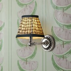 Rose wall light fitting in antiqued silver with 16cm empire gathered lampshade in savannah block printed cotton