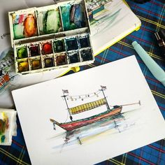 More boats . Еще лодочек . #boats #fishingboat #thailand #thailand_in_sketches #winsorandnewton #watercolor #lamy #fountainpen #travelbook #artjournal #everydaymatters #sketch #urbansketcher #color #drawing #archsketch #architect