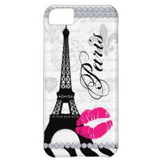 Paris Eiffel Tower Pink Lips Cell Phone Cover Case For iPhone 5C
