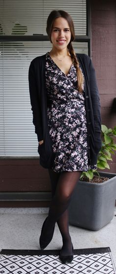 Jules in Flats - Floral Wrap Dress with Cardigan for Work