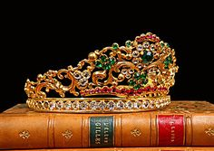 French Antique Crown Tiara with Red and Green Crystal Jewels, circa 1840