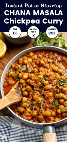 Instant Pot or Stovetop Chana Masala - a delicious lighter version of this popular vegetarian fragrant curry. Dairy-Free, Gluten-Free, Vegan, Slimming World and Weight Watchers friendly pot recipes vegetarian Chana Masala (Instant Pot or Stovetop) Slow Cooker, Pressure Cooker Recipes, Best Instant Pot Recipe, Instant Pot Dinner Recipes, Recipes Dinner, Dinner Ideas, Vegan Chana Masala, Channa Masala, Vegetarian