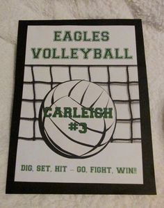 One of the Volleyball locker decorations I that made for my daughter's team last fall Volleyball Locker Signs, Volleyball Locker Decorations, Soccer Locker, Volleyball Cheers, Volleyball Crafts, Volleyball Team Gifts, Volleyball Party, Volleyball Posters, Sports Locker
