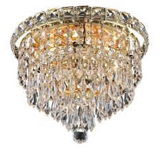 Tranquil 4 Light Crystal (Clear) Flush Mount in Gold Finish 2526F10G/RC