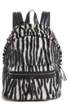 1ce99898965 SAINT LAURENT ZEBRA BACKPACK - BLACK.  saintlaurent  bags  fur  canvas