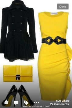 yellow dress fashion style moda clothes wear picture image
