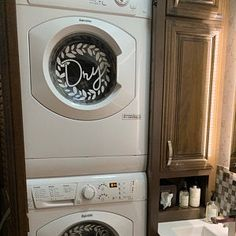 "Laundry room decor ""Wash"" ""Dry"" vinyl decal set, washing machines and dryers. farmhouse laundry room decor with floral wreath Laundry Icons, Self Service Laundry, Diy Projects Cans, Washing Machine And Dryer, Front Load Washer, Laundry Room Storage, Small Storage, Storage Ideas, Home Upgrades"