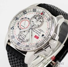 Luxury Pre-Owned Chopard Mille Miglia Gran Turismo XL Chronograph Ref. 168489-3001 - This Chopard Mille Miglia Chronograph commemorates the famous 1000 mile (Mille Miglia) Italian endurance race that took place from 1927 to 1957. Various odes to the race can be seen on the piece, including the Millie Miglia road sign next to the date aperture at 3, as well as the original tire tread rubber strap that the watch is on. The case sits at 44mm and is polished stainless steel with a bezel…