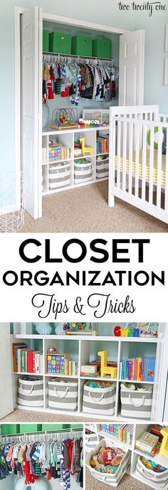 Closet organization tips and tricks! GREAT ideas for home organization! The post Closet organization tips and tricks! GREAT ideas for home organization! appeared first on Children's Room. Nursery Closet Organization, Organization Hacks, Closet Organisation, Organizing Tips, Basket Organization, Organization For Toddler Room, Clothing Closet Organization, Organizing Kids Toys, Kids Closet Storage