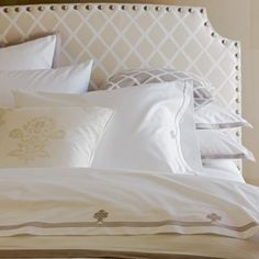 Love this headboard with nailheads