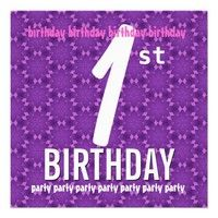 1st Birthday Party Template Pink Purple Stars Custom Invite - Add party details.  #girl #girls #surprise #birthday #party #invite #invitation #custom #customize #personalize #celebrate #celebration #envelope #stamp #sticker