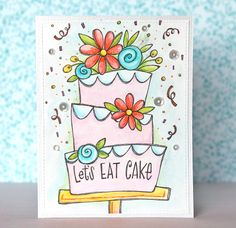 Tips: Coloring Inspirations with Large Digital Stamps – Stamping Watercolor Birthday Cards, Birthday Card Drawing, Birthday Painting, Watercolor Cards, Birthday Cake Card, Watercolor Sketch, Birthday Wishes, Cake Drawing, Hand Drawn Cards