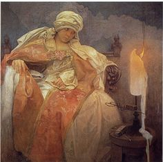Alphonse Mucha, Woman With a Burning Candle