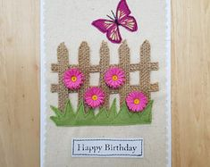 Appliqued and quilled pink daisy birthday card