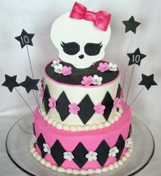 Cake idea for Sarah's Birthday party- Monster High Festa Monster High, Monster High Cakes, Monster High Party, Sweet Cakes, Cute Cakes, Beautiful Cakes, Amazing Cakes, Monster High Birthday Cake, Cake Blog