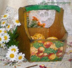 """Купить Корзинка деревянная """" Летний урожай"""" - разноцветный, короб для хранения, короб, короб для специй"""