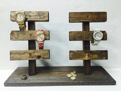 Watch/ Bracelet Display  Holds up to 12 accessories! Helps keep your watches and bracelets organized in a stylish manner!  Customizable to preferred shade of stain  Measures 16 long and 5 1/2 wide  All products are hand- crafted by me in my Korner! Go checkout what other items Ive been Krafting lately at my shop! Xoxo