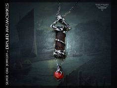 Old wood and red coral pendant Aroxan druid
