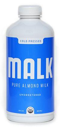 Malk unsweetened almond milk. Ingredients: Organic Almonds, Himalayan Salt, Filtered Water.