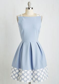 Give it Some Dot Dress. Carefully choose which soirees to which you want to wear this periwinkle party dress by Closet London, for youll sure garner lots of attention! #blue #modcloth