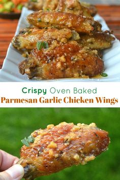 Crispy Oven Baked Parmesan Chicken Wings, Easier than frying and just as good! Crispy Baked Parmesan Garlic Wings Easier than frying and super delicious! This sauce is finger licking good! A delicious alternative to hot wings! Baked Parmesan Crusted Chicken, Parmesan Chicken Wings, Cooking Chicken Wings, Baked Garlic, Chicken Parmesan Recipes, Chicken Wing Recipes, Oven Baked Chicken Wings, Cooking Pork, Garlic Wings