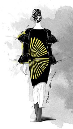 Paris Fashion Week A/W 2014 - #DriesVanNoten sketch by Tanya Kancheva #fashionsketch #fashion #fashionillustration