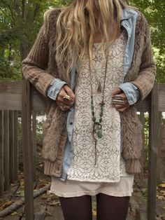 Lots of layers...may not work. White lace dress Denim shirt Cognac cardi Fur vest Tights