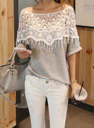 $6.80 Lace Cutout Shirt Women Handmade Crochet Cape Collar Batwing Sleeve T-shirt