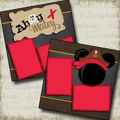 Ahoy Matey Mouse Red - 2 Premade Scrapbook Pages - EZ Layout 3352 Beach Scrapbook Layouts, Cruise Scrapbook, Album Scrapbook, Disney Scrapbook Pages, Scrapbook Sketches, Scrapbook Paper Crafts, Scrapbooking Layouts, Scrapbook Designs, Disney Nursery