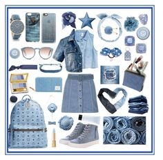 """""""Jean """" by macaulere ❤ liked on Polyvore featuring Estée Lauder, Topshop, Casetify, GUESS, RumbaTime, Chanel, Kate Spade, Herschel Supply Co., Renben and H&M"""
