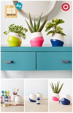 Previous Pinner: Your plants' homes couldn't get any more mod or chic. Choose a hue (or two) plus ceramic planters from the Hand Made Modern collection. Display 'em to complete this DIY. Diy Arts And Crafts, Home Crafts, Fun Crafts, Diy Home Decor, Crafty Craft, Crafting, Craft Projects, Projects To Try, Cactus Y Suculentas