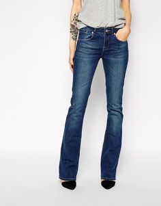 ASOS Lennox Kick Flare Jeans in Mid Wash Blue