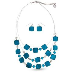 Erica Lyons Turquoise Silver-Tone Turqoise Squares Illusion Necklace... ($15) ❤ liked on Polyvore featuring jewelry, earrings, turquoise, green turquoise earrings, turquoise jewelry, green turquoise jewelry, silvertone jewelry and silvertone earrings