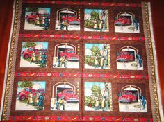 Local Heroes Cotton Fabric Vintage Fireman Patches Cotton Quilt Panel Fabric