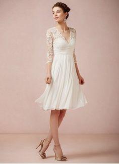 A-Linie/Princess-Linie V-Ausschnitt Knielang Tüll Spitze Brautkleid mit Rüschen Schleife(n)