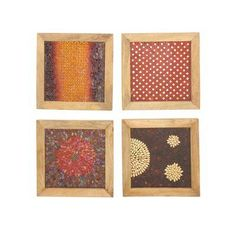 "Cole & Grey 4 Piece Wood/Mosaic Wall Décor Set Size: 16"" H x 16"" W x 1"" D"