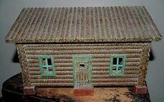 Outstanding Antique Vintage Log Cabin FOLK ART Light McGraw Box Co. NY