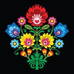 paper+flower%3A+Polski+haft+ludowy+z+kwiatami+-+tradycyjny+wz%C3%B3r+na+czarnym+tle+Ilustracja