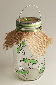 Glow paint, burlap and a handle make a terrific bug catcher jar!