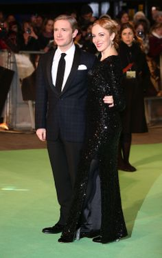 Martin Freeman hit the green carpet with partner Amanda Abbington.