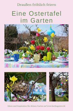 Werbung / Ostern wie eine Blumenwiese: Ostern sollten wir draußen im Garten feiern und den Zauber der erwachenden Natur erleben. Hier kommt eine tolle Idee für eine Tischdekoration zum Osterbrunch oder Osterfrühstück.