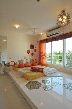 : classic Bedroom by Mybeautifulife hippie Indian eclectic bedroom floor bed sleek Indian monsoon Bedroom Bed Design, Bedroom Furniture Design, Home Room Design, Home Decor Furniture, Home Decor Bedroom, Home Interior Design, House Design, Indian Bedroom Decor, Indian Bedroom Design