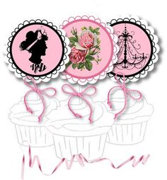 Free Printable Cupcake Toppers and Stickers - Pink and Black
