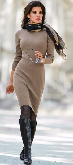 Gorgeous Wool Bodycon Dress Paired With Tights Knee Highs & a Great Scarf