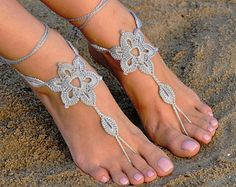 Crochet Silver Barefoot Sandals, Foot jewelry, Bridesmaid gift, Barefoot sandles, Beach, Anklet, Wedding shoes, Beach Wedding, Summer shoes