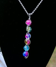 Silver 6 Stone Rainbow Pendant Necklace  by thedreamersgallery