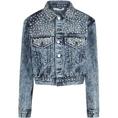 Alice + Olivia Chloe Embellished Cropped Denim Jacket - Size M (£605) ❤ liked on Polyvore featuring outerwear, jackets, blue jackets, blue cotton jacket, blue jean jacket, blue denim jacket and alice olivia jacket