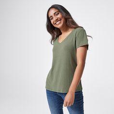 Dannii Minogue Petites Knit Rib T-Shirt - Khaki Green | Target Australia