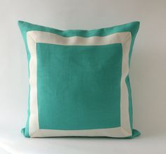 20x20 to 26x26 Mint Green Linen Pillow Cover with Off White Grosgrain Ribbon- Decorative Throw Pillow Cover - Cushion Cover 51x51cm